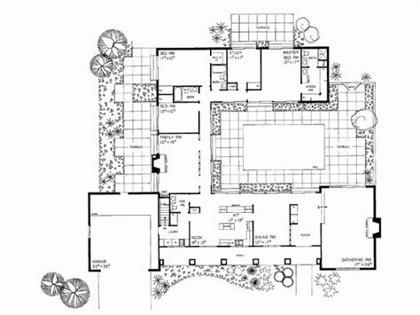 floor plans with courtyards eplans ranch house plan courtyard classic 3110 square feet and 3 bedrooms s from eplans