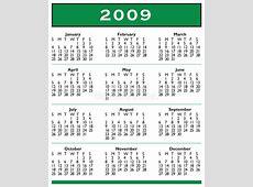 2009 Calendar yearly printable calendar
