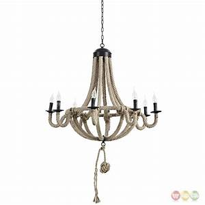 Coronet Rustic 8-bulb Chandelier With Rope Cord Over Steel