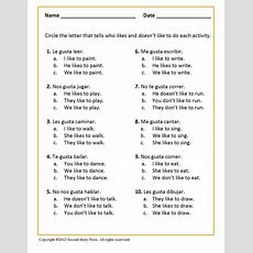 Gustar + Infinitive  Italian, French And Spanish Language Teaching Posters  Second Story Press
