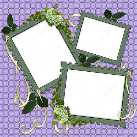 floral border scrapbook album page stock photo