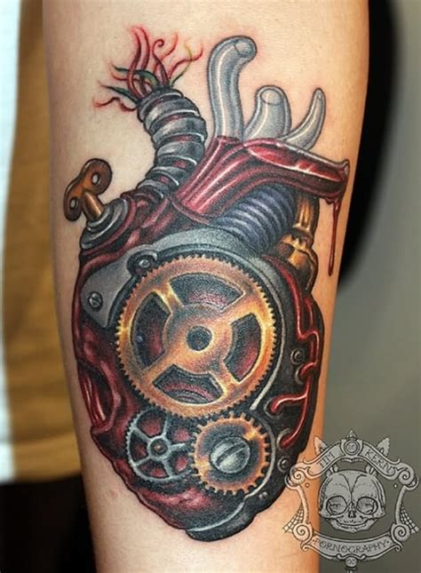 colorful mechanical heart tattoo