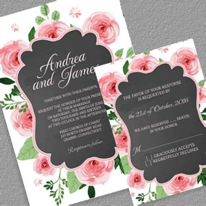 FreeChalkboard and Rose Frame Invitation and RSVP