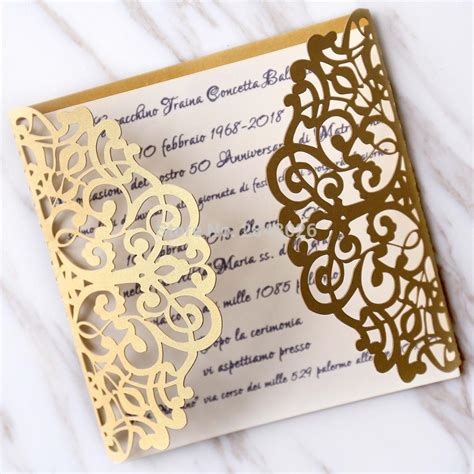 Personalized Initials 50pcs Gold Gatefold Wedding