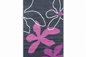 Tapis 160x230 Pas Cher : tapis deco gris blanc violet flowers 160x230 cm tapis ~ Teatrodelosmanantiales.com Idées de Décoration