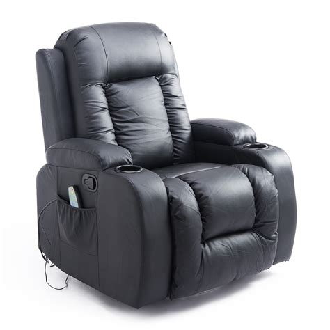 homcom pu leather heated vibrating swivel recliner