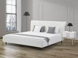 Lit Double Blanc : lit design en cuir lit double 180x200 cm blanc sommier inclus saverne ~ Teatrodelosmanantiales.com Idées de Décoration