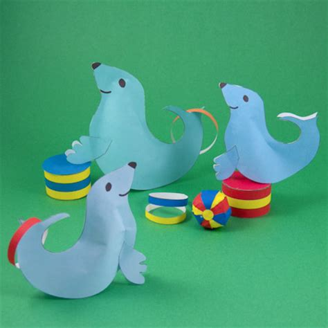 how to make circus seals 3d paper crafts s 673 | CircusSeals440