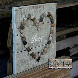 Signe de palettes en bois aime l'âme Rock Art par