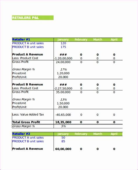 p l excel template 6 p and l template excel exceltemplates exceltemplates