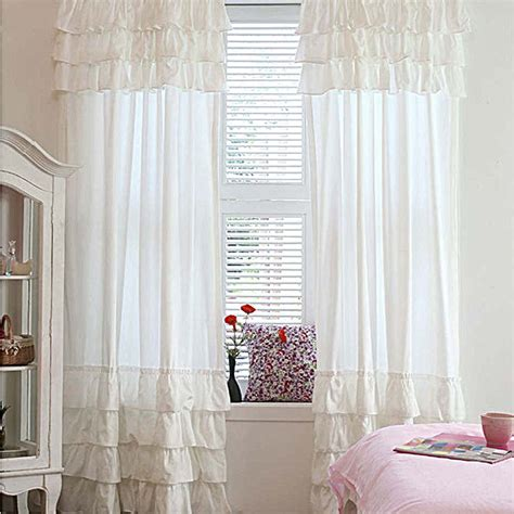 Ruffle Blackout Curtain Panels by White Ruffle Curtain