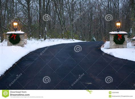 decorated driveway  winter stock photo image