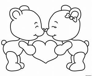 Dessin Saint Valentin : coloriage teddy nounours st valentin amoureux ~ Melissatoandfro.com Idées de Décoration