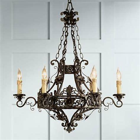 wide chandelier merrifield 28 quot wide bronze 6 light iron chandelier