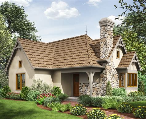 bed tiny cottage house plan  st floor master suite cad  cottage