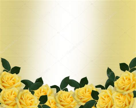 wedding invitation yellow roses border stock photo
