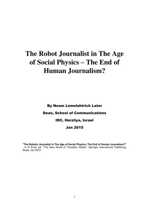(PDF) The Robot Journalist in the Age of Social Physics
