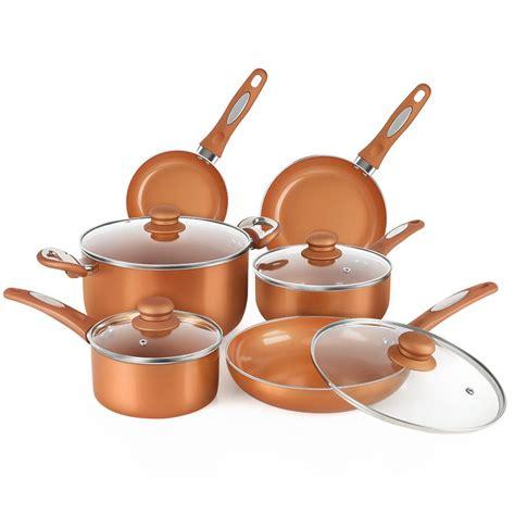fgy  piece nonstick copper cookware set pots  pans  induction bottomcopper walmart