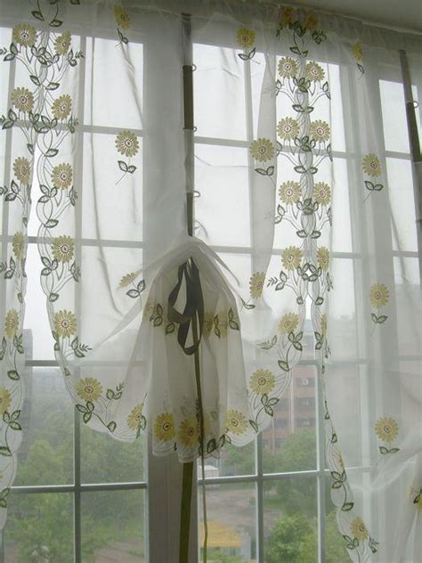 embroidered yellow sunflowers balloon shade sheer voile