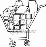 Grocery Supermarket Clipart Cart Drawing Royalty Pages Getdrawings sketch template