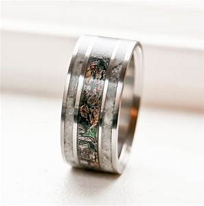 mens camo wedding ring with real antler by stagheaddesigns With mens camo wedding rings