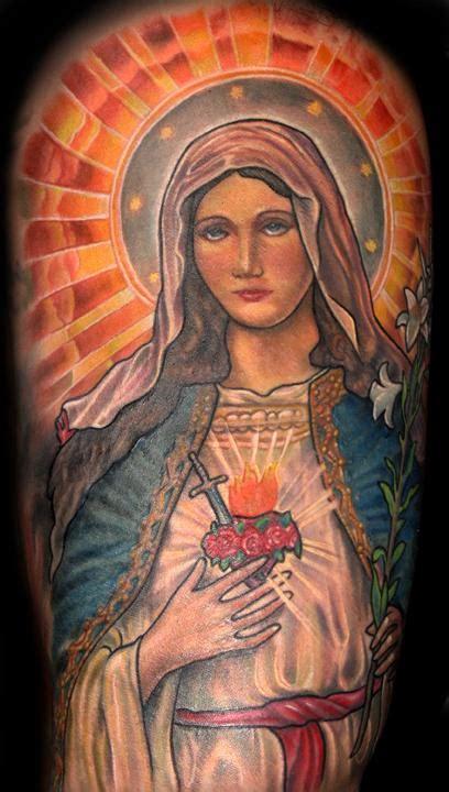 saint mary tattoos   sleeve