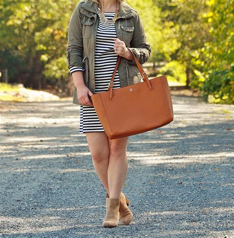 Pairing A Military Jacket With A Striped Dress
