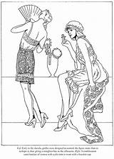 Coloring Roaring Twenties Pages Dover Publications Fashions Flappers Adult Template Doverpublications sketch template