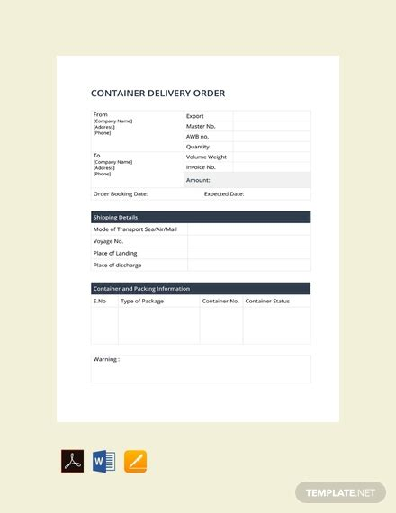 container delivery order template   order
