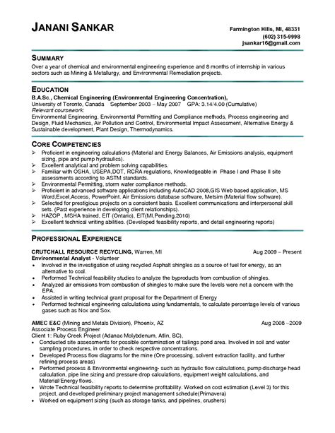 Environmental Engineer Resume Objective by Be Chemical Engineering Resume Sales Engineering Lewesmr