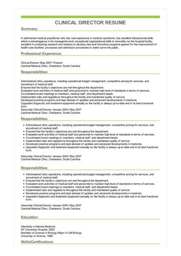 sample clinical director resume
