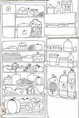 Coloring Refrigerator холодильник Space Colouring Sheets sketch template