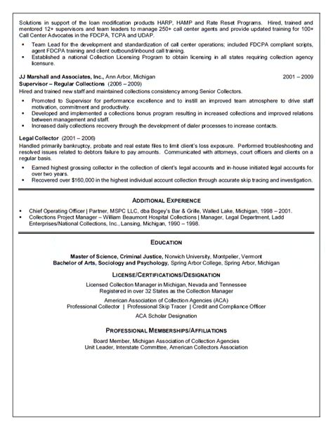 Collections Manager Resume Exles by Collection Manager Resume
