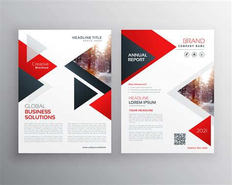 business brochure  red black triangle shape template