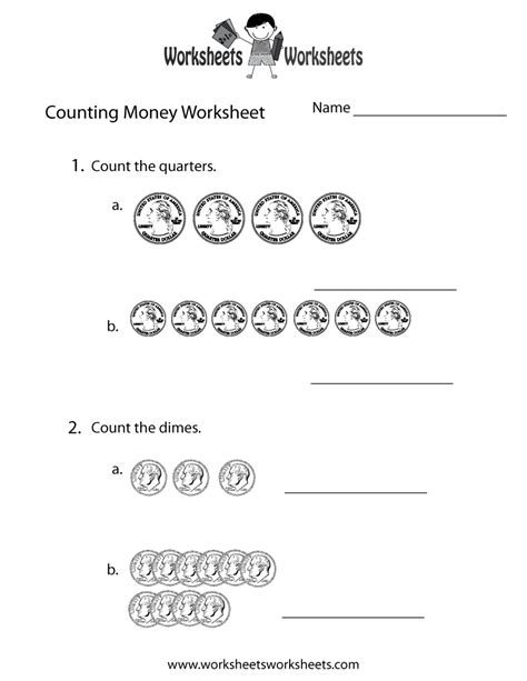 easy counting money worksheet free printable educational