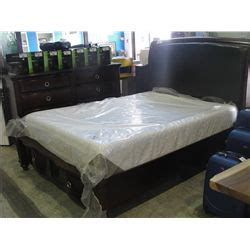 queen size headboard footboard and rails set with drawers
