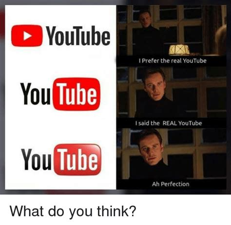 Meme Youtube - youtube tube youtube i prefer the real youtube you i said the real youtube ah perfection what do