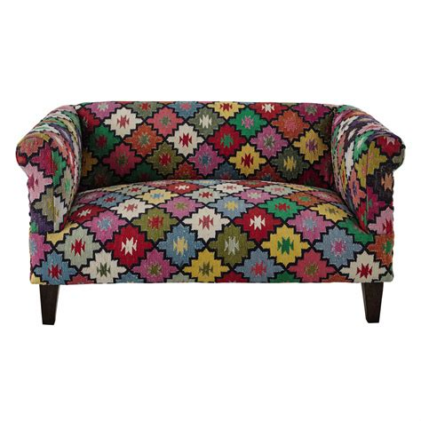 canape crapaud 2 places canap 233 2 3 places en tressage kilim multicolore arlequin maisons du monde
