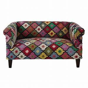 canape 2 3 places en tressage kilim multicolore arlequin With tapis kilim avec canapé à 2 places