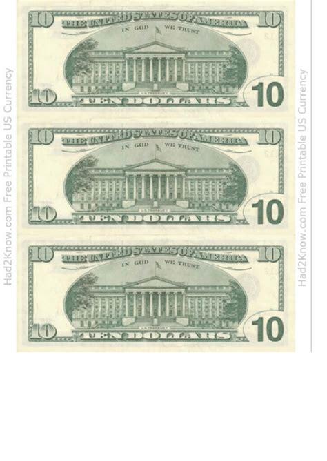 ten dollar bill template  printable