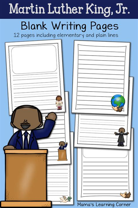 martin luther king jr blank writing pages mamas