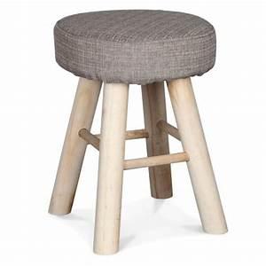 Petit Tabouret Bois : petit tabouret rond tissu gris chin pieds bois tabouret ~ Teatrodelosmanantiales.com Idées de Décoration