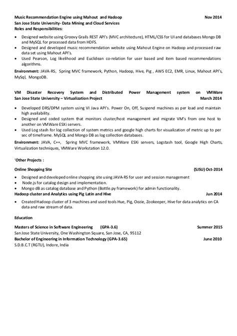 Hadoop Architect Resume by Avi Jain Resume Descriptive 2015