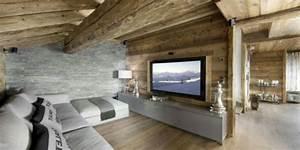 21 idees deco salon aux couleurs et materiels naturels bois With decoration interieur chalet moderne