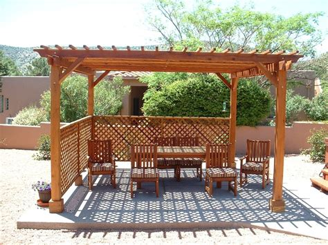 pictures of pergolas with lattice 15 x 15 garden pergola with lattice roof and privacy panels in redwood patio ideas