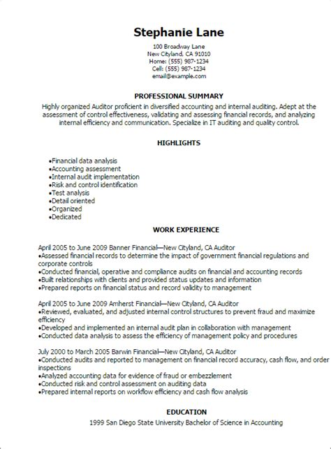 Auditor Resume Description by Auditor Exle Resume Exle Auditor Resume Free Sle Auditor Resume