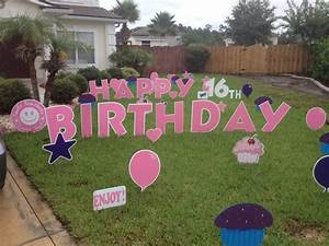 Birthday cake yard sign posted by big yard card at 239 for Happy birthday yard letters