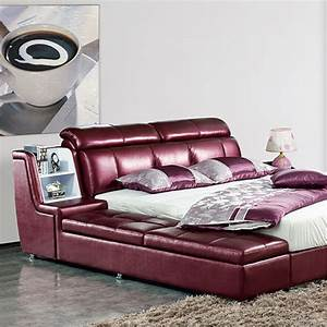 webetop modern luxury home furniture bed set with bedside With soft leather sofa bed