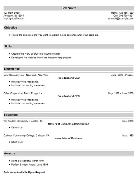 Resume Creator Htm by Backgrounds And Borders Resume Template Style 19 Resume