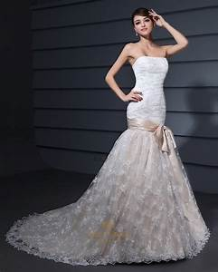 vintage white and champagne lace mermaid strapless wedding With white and champagne wedding dress